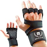 Mava Sports Cross Training Gloves with Hook and Loop Wrist Wraps – Palm Protector Gloves, Callus Guard for Dumbell, Weights, Barbell, Gym Glove – Cross Training Gloves Fit for Women and Men, Pair....
