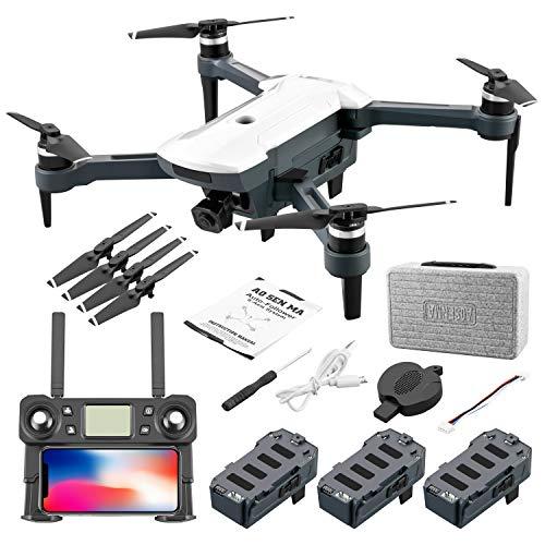 elegantstunning Drone Aereo CG028 4K HD 16 Megapixel con Trasmissione di Immagini 5G Posizionamento GPS Quadricottero Pieghevole RC Bianca Tre batterie