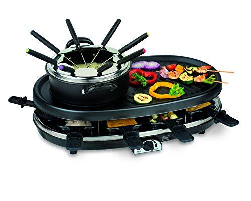 Trebs elektrisches 4 in 1 Multifunktionsgerät (Fondue, Grill, Raclette und Gourmet), für 8 Personen, mit Thermostat, Pfannen und Gabeln aus Edelstahl, 1800 Watt