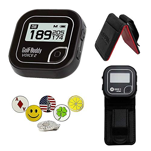 Golf Buddy Voice 2 Golf GPS/Rangefinder Bundle with Belt Clip, 5 Ball Markers and 1 Hat Magnetic Clip, Black
