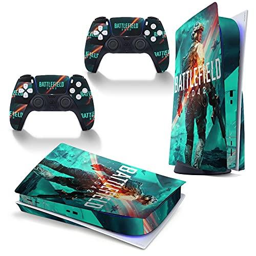 PS5 Skin Stickers Full Body Vinyl Skins Wrap Decals Cover für Playstation 5 Konsole und 2 Controller Disc Edition (Battlefield 2042)