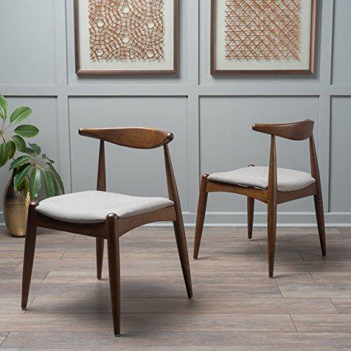 Christopher Knight Home 300007 Francie Fabric with Walnut Finish Dining Chairs, 2-Pcs Set, Light Grey / Walnut