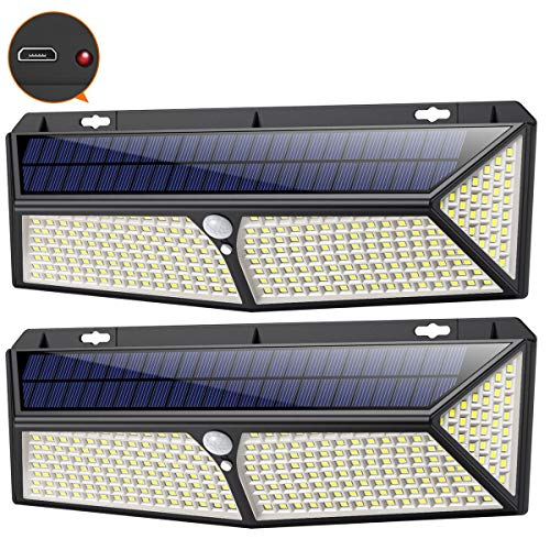 Luce Solare Led Esterno 288LED con Ricarica USB,2 PezziiPosible Lampade Solari Led esterno Sensore di Movimento 2200LM 270Illuminazione Faretto Solare Luce Bianca Fredda Luci Solari Esterno IP65