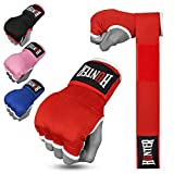 HUNTER Gel Padded Inner Gloves with Hand Wraps for Boxing (Set of 2 Gloves) (Red, S/M)…