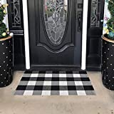 SEEKSEE 100% Cotton Plaid Rugs Black/White Checkered Plaid Rug Hand-Woven Buffalo Checkered Doormat Washable Porch Kitchen Area Rugs (23.5'×35.4')