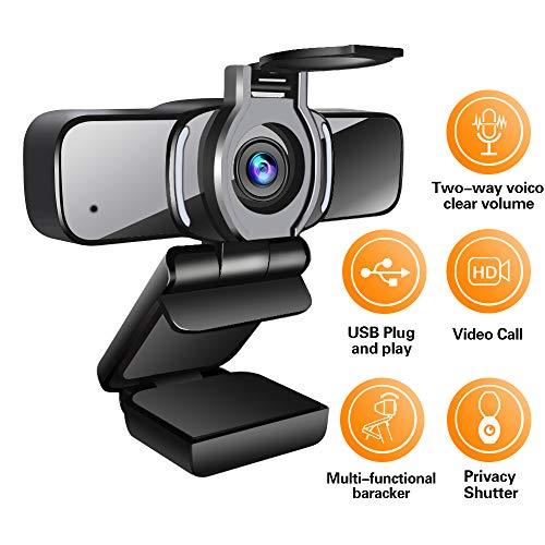 LarmTek Webcam HD 1080p con otturatore per la Privacy, videocamera per PC Laptop con Webcam e Microfono, videochiamata Widescreen e Supporto di Registrazione per conferenze, W3