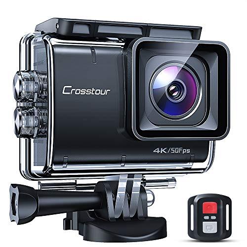 Crosstour - Fotocamera Sportiva Native 4K 50 fps, Schermo Touch EIS Fotocamera Impermeabile Telecomando Wi-Fi e Kit di Accessori Completo