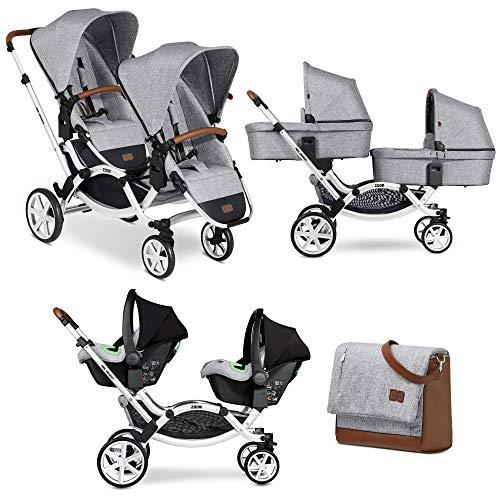 Trio gemellare ZOOM graphite grey - ABC Design - passeggino navicelle ovetti