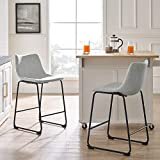Walker Edison Furniture Company Modern Faux Leather Upholstered Counter Stool, 24 Inch Chair, Grey