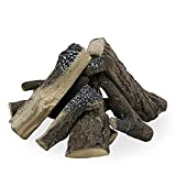 Uniflasy Gas Fireplace Ceramic Log Set for Indoor and Outdoor Gas Inserts, Fireplaces, Fire Pits, Ventless, Propane, Vent-Free, Gel, Electric, Realistic Wood Log Set Fireplace Decoration, 10 Pcs