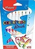 Maped Color' Peps Brush - Pack de 10 rotuladores, punta pincel