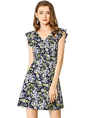 V neckline, ruffle lend a contemporary touch and make this option for time off work Floral Print, V Neck, Ruffle Trim, A-line, Sleeveless, Unlined, Elastic Waist Back Occasion: Weekend, Beach, Dating etc Machine Wash Cold with Like Color Designed dre...
