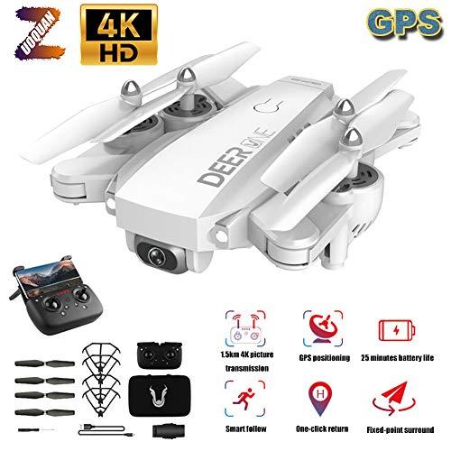 ZUOQUAN Drone GPS, 5G Stabilizzazione Immagine Professionale 4K HD Droni, GPS Intelligente Follow, Surround A Punto Fisso, Telecamera Grandangolare 4K A 120  Regolabile, Drone Pieghevole,Bianca