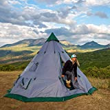 Winterial 6-7 Person Teepee Tent - 12'x12' Family 4 Season Camping Tent, Windows, Mesh Vents, 15lbs, Includes Stakes, Poles, Guylines, Rain-Cap, Stabilizer and Large Travel Bag