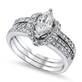 Marquise White CZ Bridal Engagement Ring Set 925 Sterling Silver Band Size 9