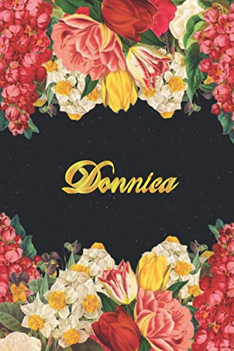 Donnica: Lined Notebook / Journal with Personalized Name, & Monogram initial D on the Back Cover, Floral cover, monogrammed initial gifts for Girls & Women