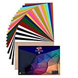 JANDJPACKAGING Heat Transfer Vinyl HTV Bundle 10'x12' - 25 Pack Assorted Colors HTV Vinyl, Iron On Vinyl for Cricut & Silhouette Cameo, Bonus Teflon for Heat Press Machine