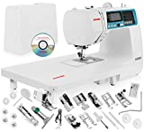 Janome 4120QDC Computerized Sewing Machine w/Hard Case + Extension Table + Instructional DVD + 1/4' Seam Foot w/Guide + Overedge Foot + Zig Zag Foot + Zipper Foot + Buttonhole Foot + Needles + More!