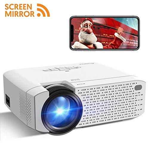 Crosstour Beamer Mini LED Beamer Bildschirmspiegelung Full HD 1080P Unterstützt 3500 Lumen Projektor LED 55000 Stunden Heimkino HDMI/TF/USB/TV Box/iOS/Android Projector