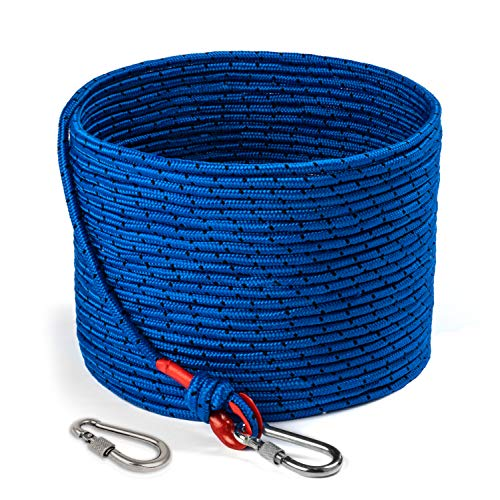 Loreso Strong Magnet Fishing Rope with Double Carabiner, Camping Rope...