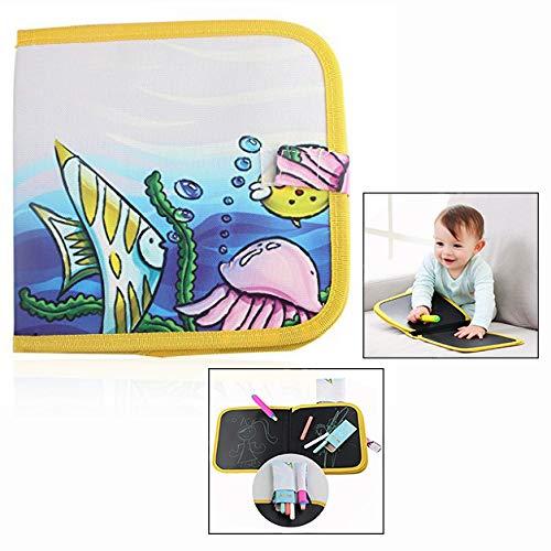 LHKJ Tavolo da Disegno per Bambini,4 Gessetti Colorati Libro di Lavagna per Bambini Educativo...