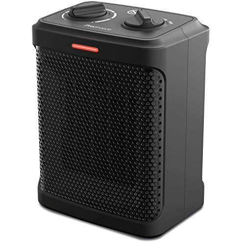 Pro Breeze Space Heater – 1500W Electric Heater with 3 Operating Modes and Adjustable Thermostat - Room Heater for Bedroom, Home, Office and Under Desk - Black