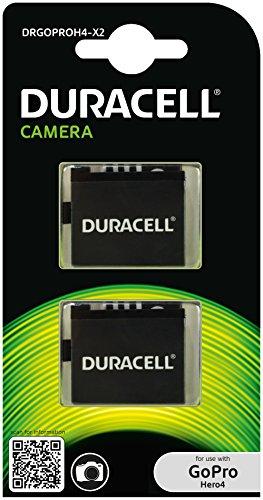Duracell DRGOPROH4-X2 Batteria per GoPro Hero 4 AHDBT-401, 2 Pezzi, Nero
