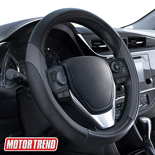 Motor Trend SW-814 Sport Drive Perforated Leather Steering Wheel Cover with Contrast Stitching - Universal Fit for Standard Sizes 14.5 15 15.5 inches (Dark Gray + Black)