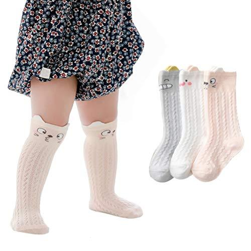 XM-Amigo - 6 paia di calzini da bambino unisex morbidi al ginocchio e lunghi, elastici per neonati, in cotone caldo e colorato, traspirante, regalo per neonati da 0 a 3 anni 3 rosa 0-12 Mesi