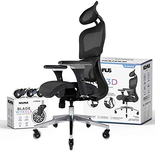 Product Image 1: NOUHAUS Ergo3D Ergonomic Office Chair - Rolling Desk Chair with 3D Adjustable Armrest, 3D Lumbar Support and Blade Wheels - Mesh <a href=