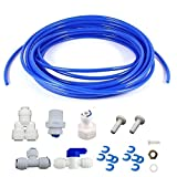 Lemoy Fridge Connection and Ice Maker Kit for Reverse Osmosis Water Systems, 16 feet 1/4 inch Tubing with 1/4 inch Push-In and Compression Fittings (blue)