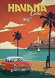 Générique Havana - Cuba - Voyage Vintage Photo Poster Imprimé Cité Pays...