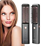 Hair Straightener Brush,ANLAN Hair Straightening Brush with MCH Ceramic Heating,3 Adjustable Temperatures Fast Heated Rechargeable Cordless Anti-Scald Straightening Comb for Men Women Home Travel