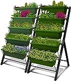 4-Ft Raised Garden Bed - Vertical Garden Freestanding Elevated Planters 5 Container Boxes - Good Patio Balcony Indoor Outdoor (Ivy Green, 2-Pack)