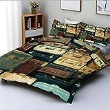 Juego de funda nórdica, maletín vintage colorido, cuero antiguo, mapa de regalo de viaje decorativo, nostalgia, juego de cama de 3 piezas decorativo con 2 fundas de almohada, marrón crema verde, el me