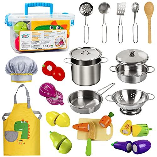 EFO SHM Cucina Giocattolo per Bambini con Cibo e Frutta in Legno, Set di Pentole e Padelle in Acciaio Inossidabile, Utensili da Cucina, Grembiule e Cappello da Cuoco