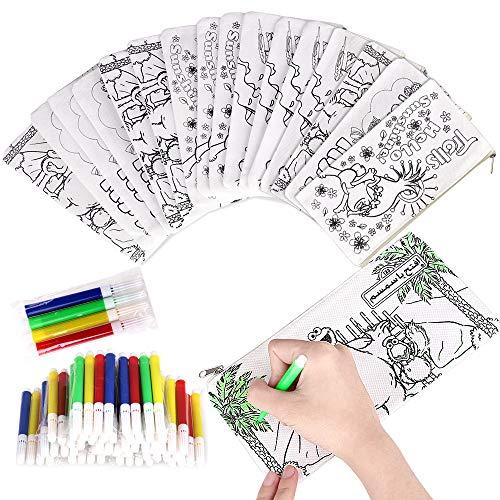 Faburo 32pz Kit | 16 Astucci da Colorare + 16 Colori Penne, Bustine da Colorare Penna Colorata per...