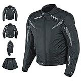 A-pro Moto CE Protections Textile Blouson Manchon Démontable Gilet Termique noir L