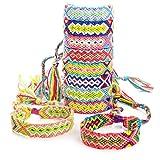 RUBY - 10 Bracelets de fil tressé multicolore réglable à la main Bracelet...