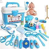 SqSYqz Kit médico de Juguete, 26 Piezas para niños, Juego de simulación, Dentista, Doctor, con Estetoscopio electrónico, Juguete y Estuche de Transporte,A