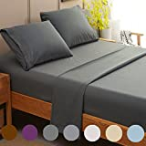 SONORO KATE Bed Sheet Set Super Soft Microfiber 1800 Thread Count Luxury Egyptian Sheets Fit 18 - 24 Inch Deep Pocket Mattress Wrinkle and Hypoallergenic-4 Piece (Dark Grey, Queen)