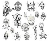ALIMITOPIA Skull Head Charm Skeleton Bone Halloween DIY Jewelry Making Charm Pendant for Punk Necklace Bracelet Accessaries(18pcs,Silver Tone)