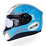 Nitek P1 Full-Faced Motorcycle Street Helmet (Retro Blue Graphic, Small)