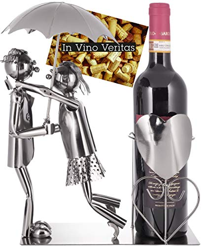 BRUBAKER Coppia Portabottiglie Vino con Ombrello - Oggetto Decorativo - Supporto per Bottiglie di Metallo - con Biglietto d'Auguri per il Vino Regalo