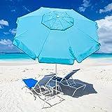 Abba Patio 7ft Beach Umbrella with Sand Anchor, Push Button Tilt and Carry Bag, UV 50+ Protection Windproof Portable Patio Umbrella for Garden Beach Outdoor, Sky Blue
