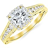 2.75 Carat 14K Yellow Gold Vintage Halo Style Channel Set Round Brilliant Diamond Engagement Ring Milgrain with a 2 Carat Moissanite Center