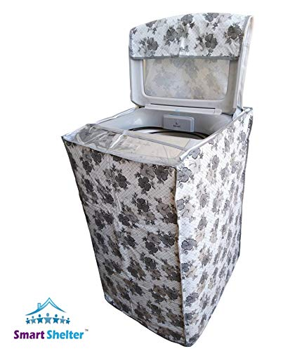Smart Shelter Washing Machine Cover Suitable for Fully Automatic Top Load 6 kg, 6.2 Kg, 6.5 Kg, 7 Kg(for Machines with Instrument Panel in Front) (White-Gray, 55 cm X 55 cm X 85 cm)