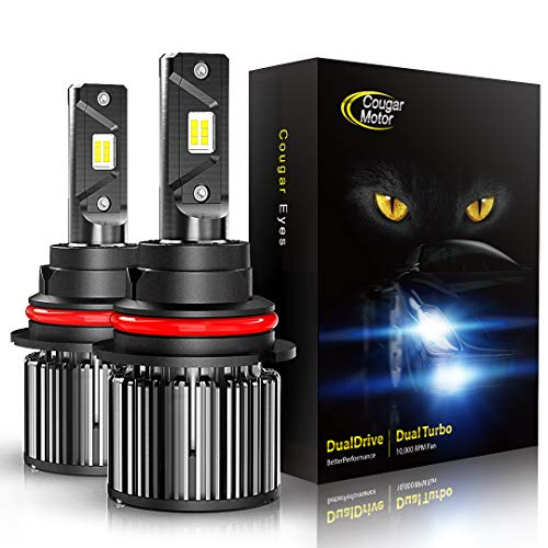 Cougar Motor 9007 LED Bulbs, All-in-One Conversion Kit, 10000 Lumen (6000K Cool White) - Adjustable Beam Pattern, Quick Installation Low Fog Light
