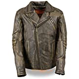 Milwaukee Leather MLM1515 Men's 'Triple Stitched' Beltless Distressed Brown Leather Jacket with Gun Pockets - 2X-Large
