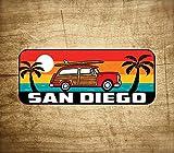 Surf San Diego Sticker Decal 5' x 2' California Woodie Surfing Laptop